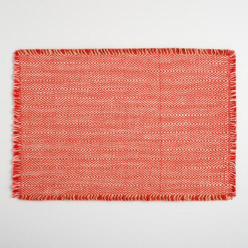 Orange Geo Woven Jute Placemats Set of 4