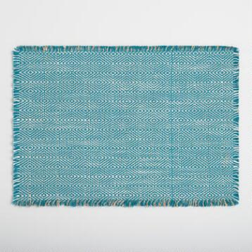 Blue Geo Woven Jute Placemats Set of 4