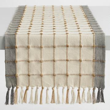 Ivory and Gray Windowpane Table Runner