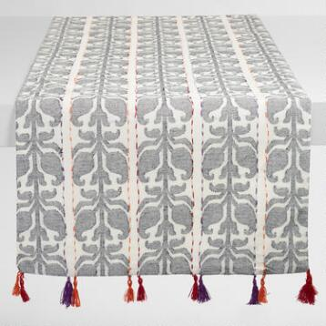 Floral Stripe Jacquard Nitika Table Runner