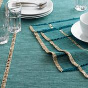 Teal Melange Khadi Table Linen Collection