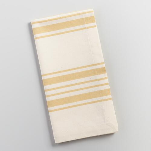 Bamboo Yellow Villa Stripe Napkins Set of 4