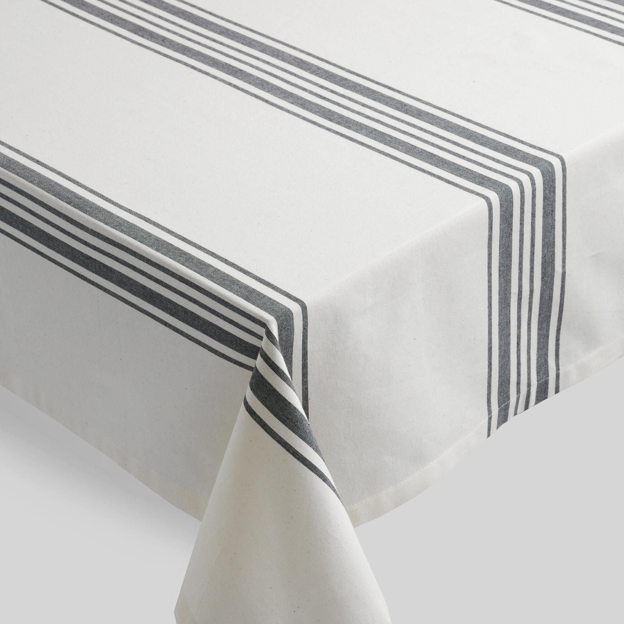 Black Villa Stripe Tablecloth World Market