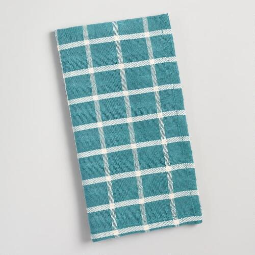 Teal Windowpane Napkins Set of 4