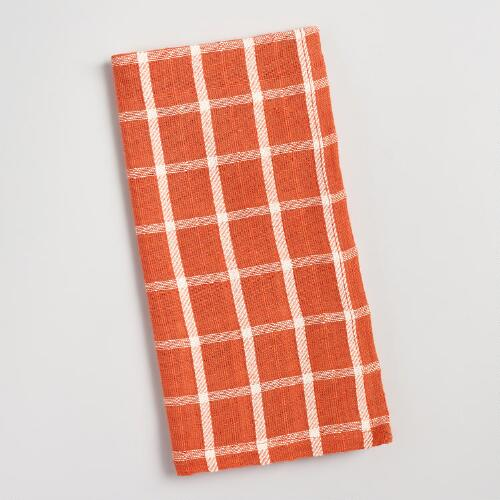Orange Windowpane Napkins Set of 4