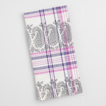 Purple Plaid Paisley Amrita Napkins Set of 4