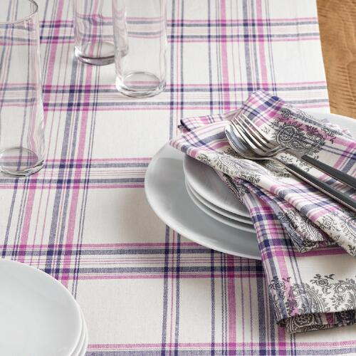 Purple Plaid Paisley Amrita Table Linen Collection