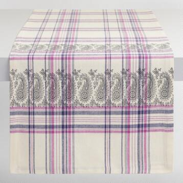 Purple Plaid Paisley Amrita Table Runner