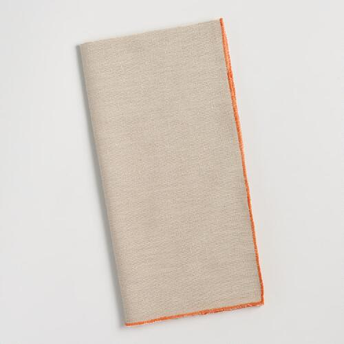 Chambray Napkins with Orange Trim Set of 4