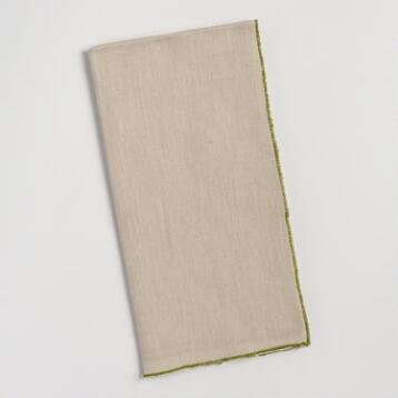 Chambray Napkins with Green Trim Set of 4