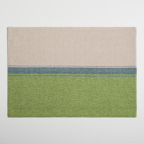 Blue and Green Color Block Woven Placemats Set of 4