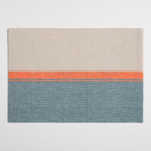 Blue and Orange Color Block Woven Placemats Set of 4