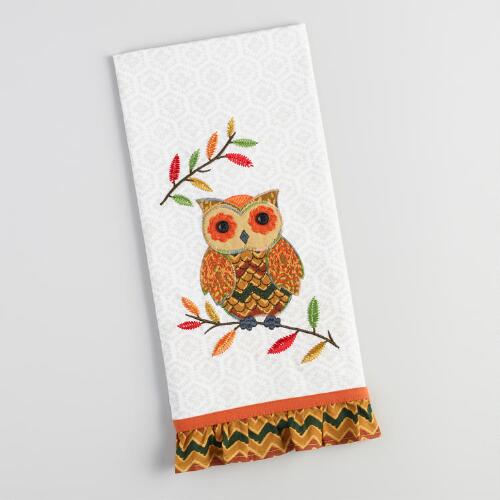 Owl on Branch Embroidered Kitchen Towel