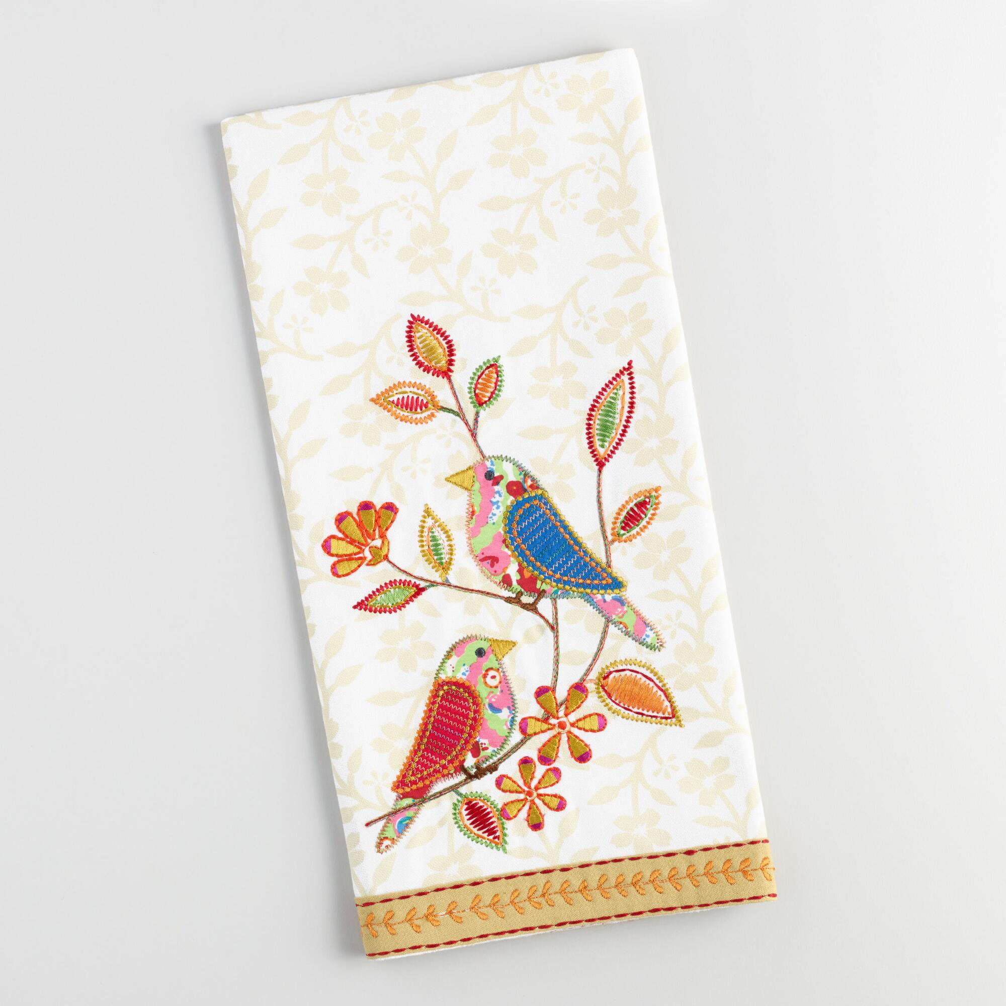 Embroidered Towels Online: Birds On Branch Embroidered Kitchen Towel