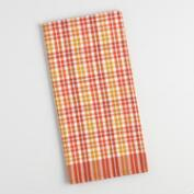 Orange and Yellow Plaid Woven Kitchen Towel