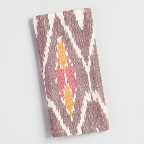 Orange and Brown Ikat Woven Napkins Set of 4