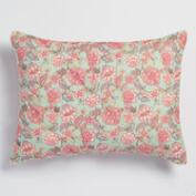 Aqua and Pink Ilsa Floral Pillow Shams Set of 2
