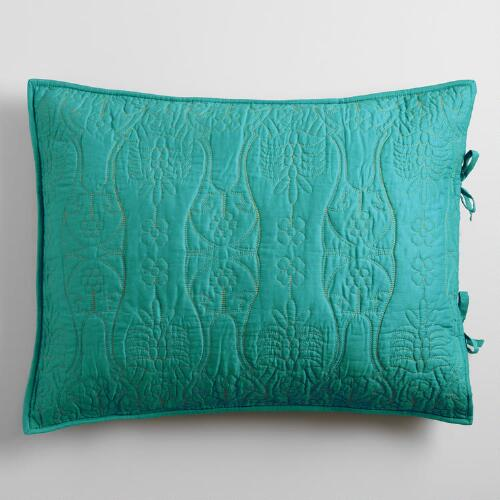 Sea Blue & Oasis Green Simone Pillow Shams Set of 2
