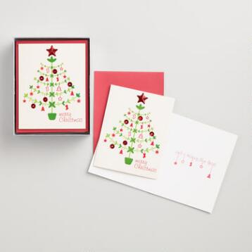 Merry Christmas Tree Boxed Holiday Cards Set of 15