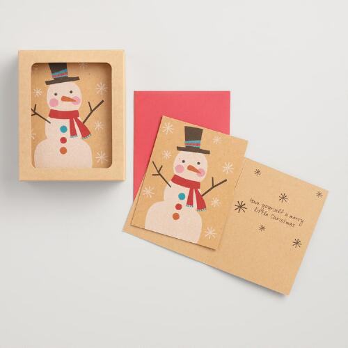 Glittery Snowman Boxed Holiday Cards Set of 15
