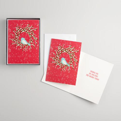 Snowbirds and Wreath Boxed Holiday Cards Set of 15