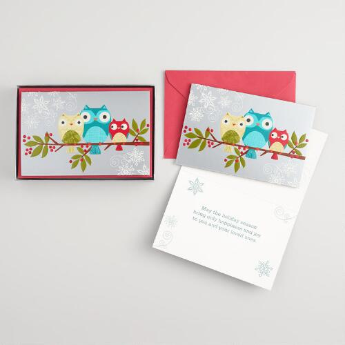 Three Owls on a Branch Boxed Holiday Cards Set of 15
