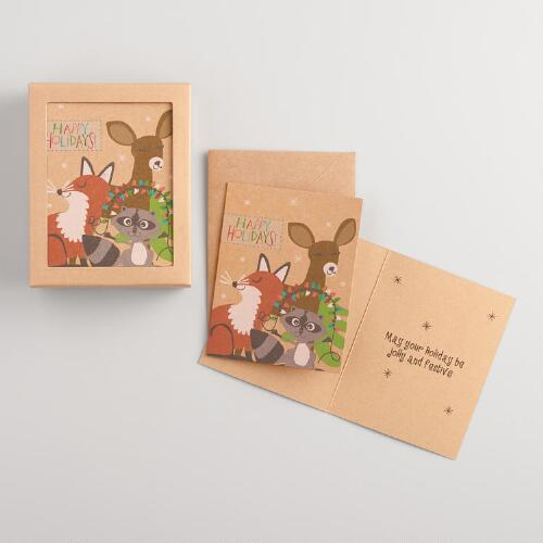 Fox, Deer and Raccoon Boxed Holiday Cards Set of 15