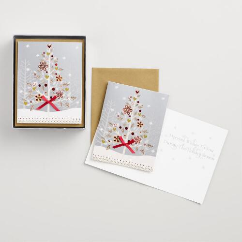 Snowy Haven Tree Boxed Holiday Cards Set of 15