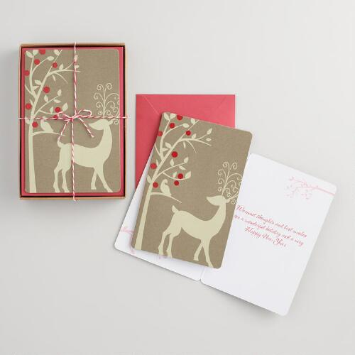 Kraft Reindeer Boxed Holiday Cards Set of 15