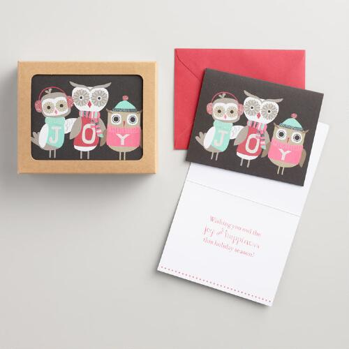 Three Owls Joy Boxed Holiday Cards Set of 15