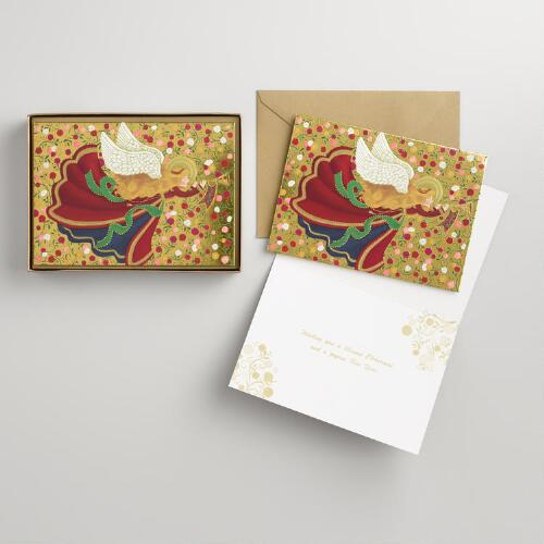 Angel and Trumpet Boxed Holiday Cards Set of 15