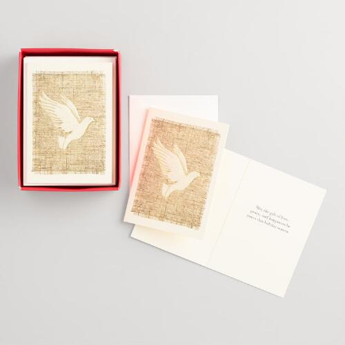 Burlap Dove Boxed Holiday Cards Set of 20