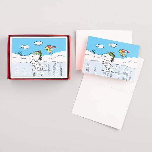 Snoopy on Ice Boxed Holiday Cards Set of 20