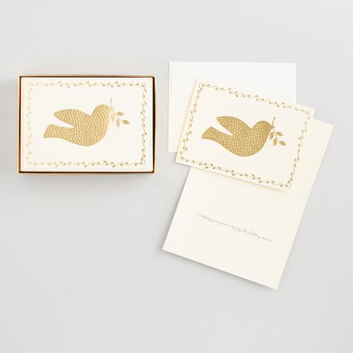 Gold Hammered Dove Boxed Holiday Cards Set of 15