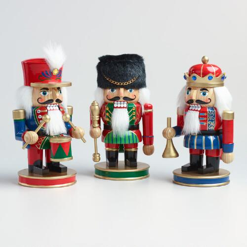 Traditional Chubby Nutcrackers Set of 3
