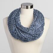 Blue and White Open Weave Infinity Scarf
