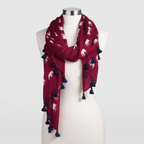 Burgundy Elephant Scarf with Tassels