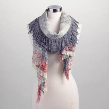 Navy Woven Scarf with Red Border