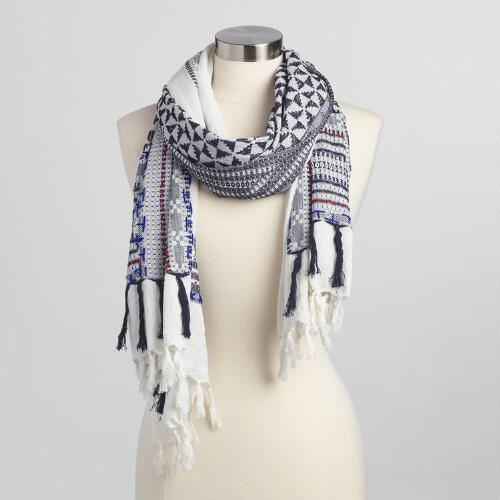 White, Black and Blue Woven Scarf with Tassels