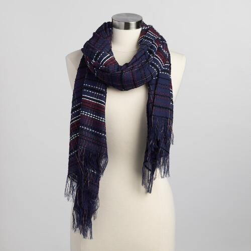 Navy and Burgundy Stripe Scarf
