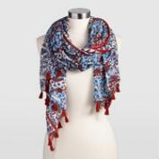 Blue and Red Floral Scarf