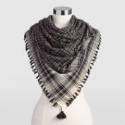 Black and White Plaid Scarf
