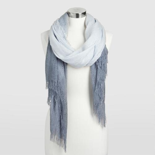 Blue Ombre Scarf With Fringe