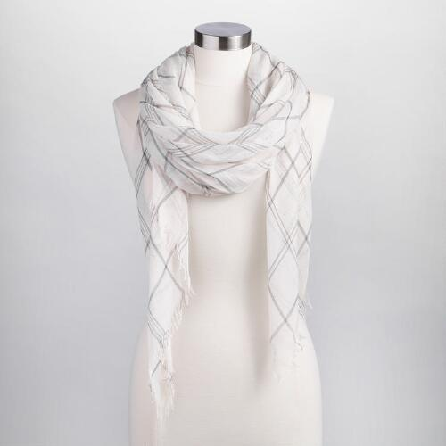 Square Cream and Black Plaid Scarf