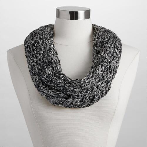 Black and White Open Weave Infinity Scarf
