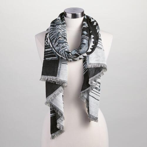 White and Black Southwest Jacquard Scarf