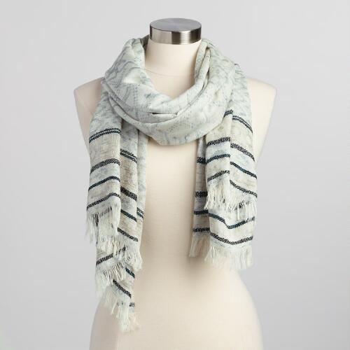 White and Black Woven Scarf with Metallic Border