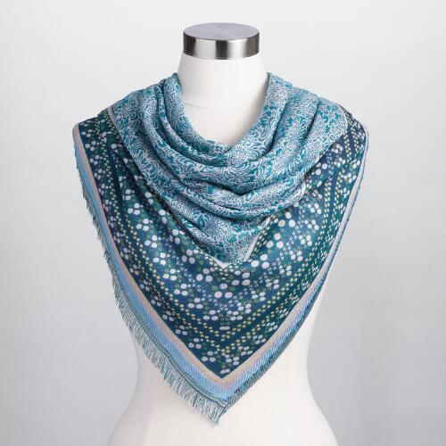Teal Jacquard Animal Print Scarf
