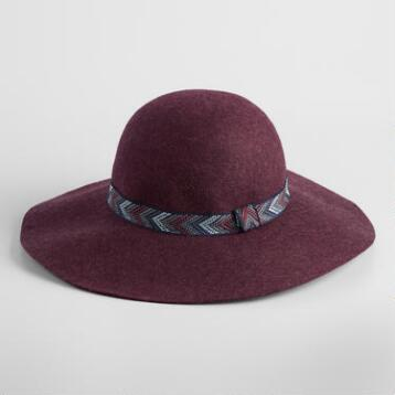 Burgundy Wool Floppy Hat with Chevron Band
