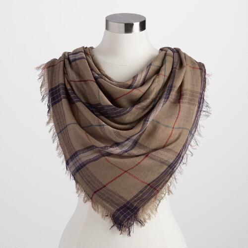 Square Brown and Purple Plaid Scarf